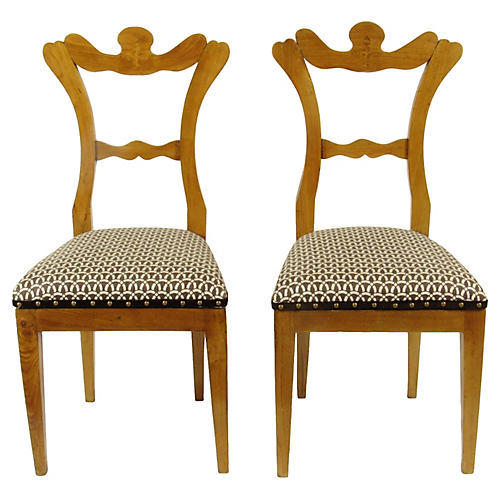 Biedermeier Side Chairs, Pair