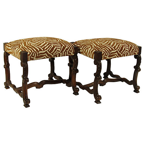 19th-C. French Benches, Pair
