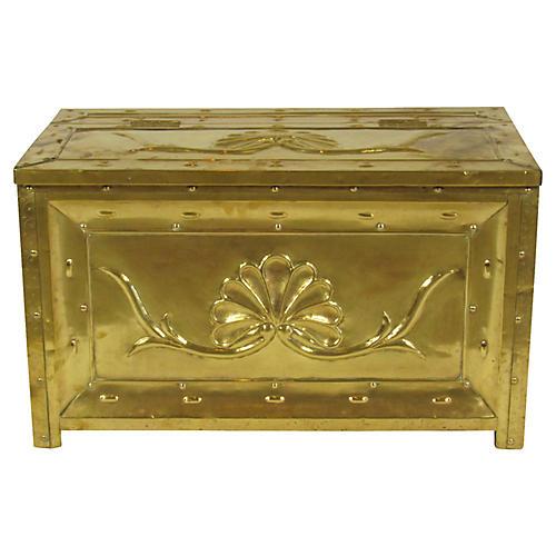 19th-C. Swedish Brass & Wood Box