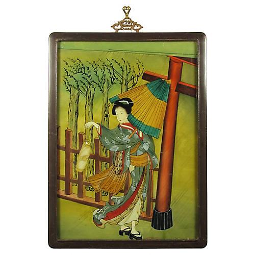 Japanese Églomisé Painting