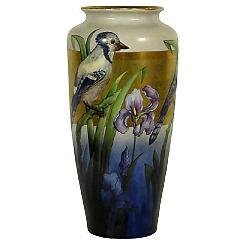Limoges Blue Jay Vase