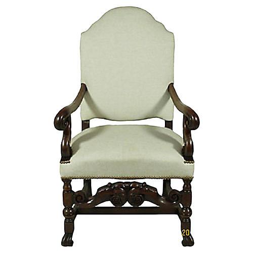 Baroque-Style Walnut Armchair