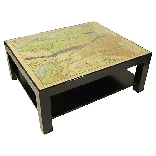 Midcentury Map Coffee Table