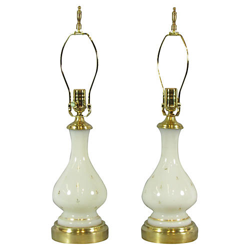 French Painted Glass Lamps, Pair