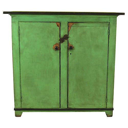 19th-C. Federal Apple Green Cupboard
