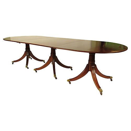 19th-C. English Triple Pedestal Table