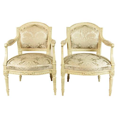 19th-C. Louis XVI Style Fautueils, Pair