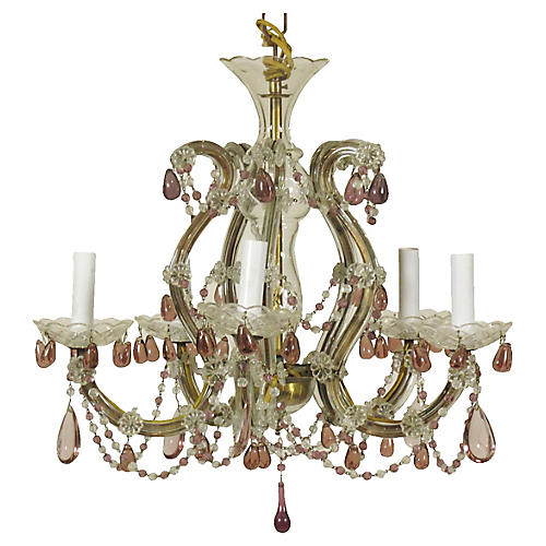 Crystal Chandelier w/ Amethyst Glass