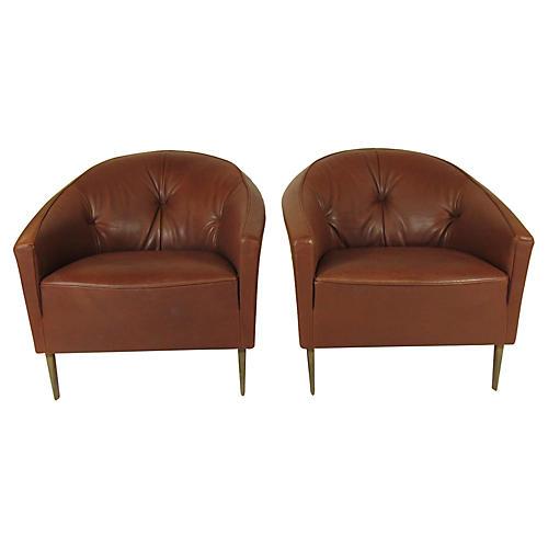 Modern Italian Club Chairs, Pair