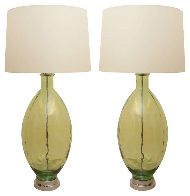 Green Glass Lamps, Pair