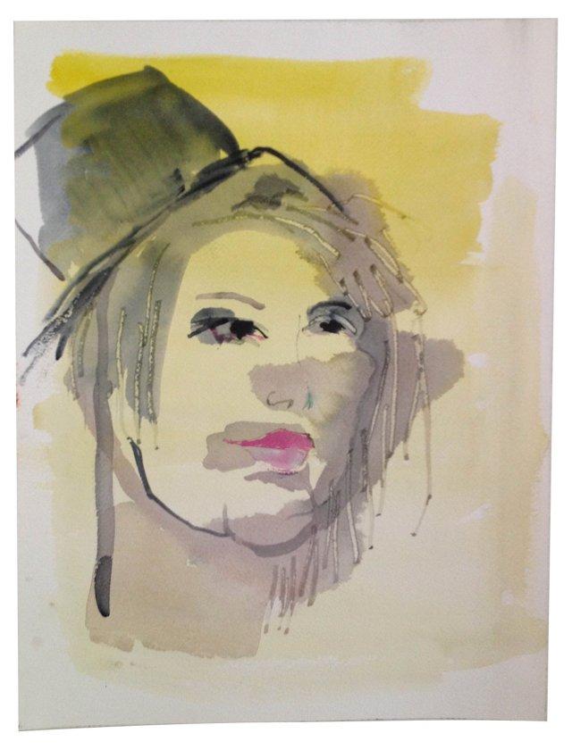Yellow Watercolor Portrait