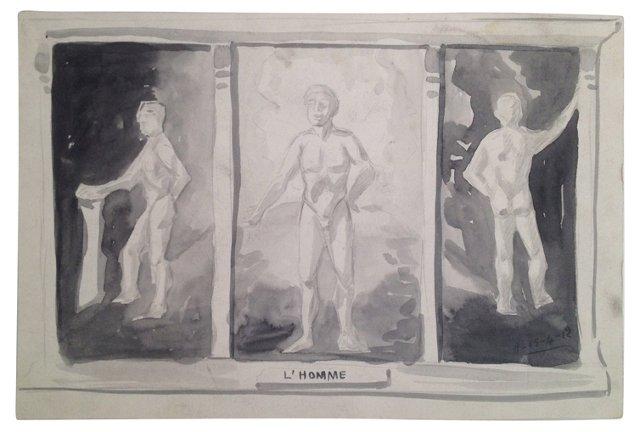 L'Homme Watercolor Triptych