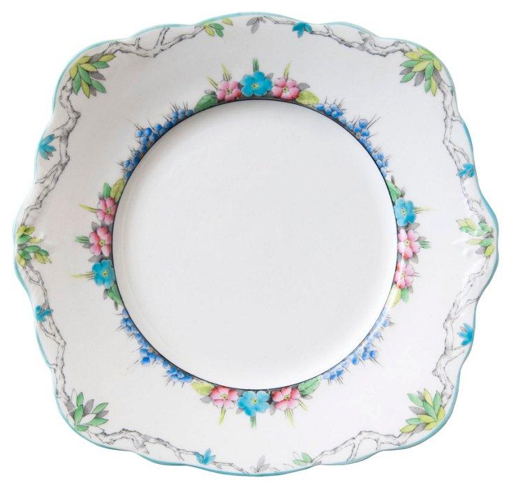 Aqua Foley Cake Plate