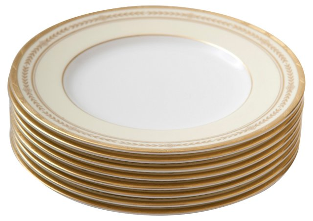 Gold-Encrusted Salad Plates, S/8