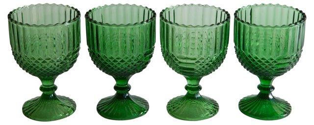 Antique Emerald Green Goblets, S/4