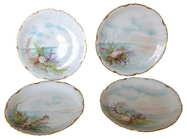Hand-Painted Elite Limoges Plates, S/4