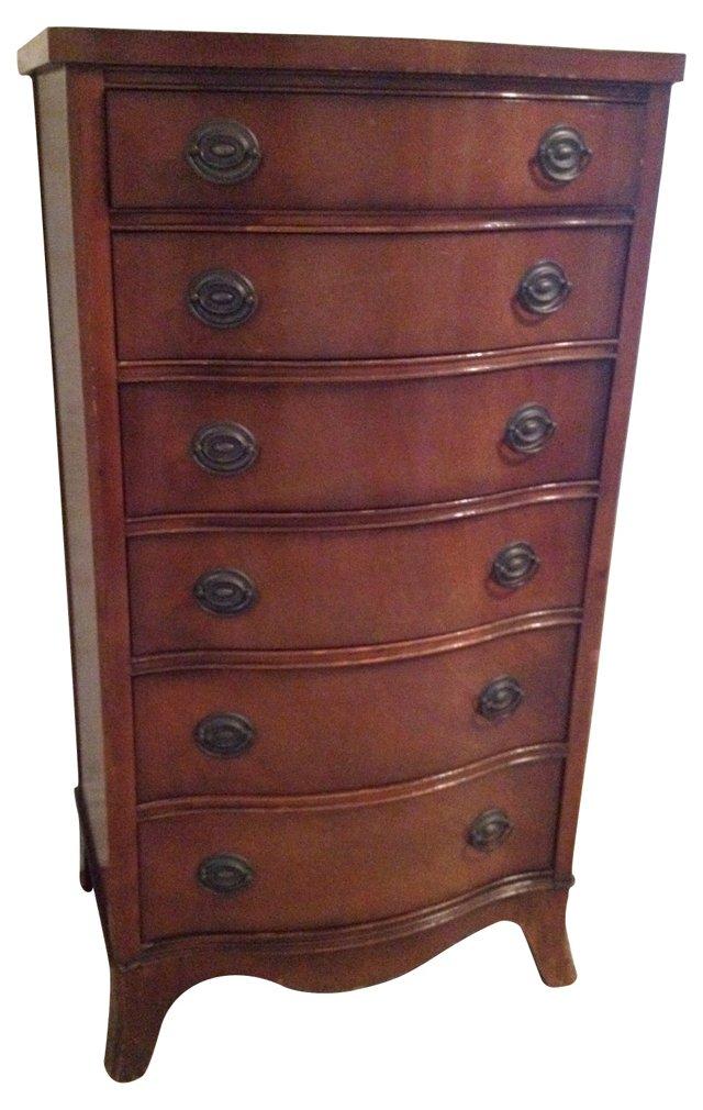 Serpentine Mahogany Dresser, C. 1920