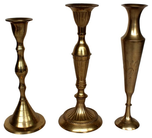 Brass Candlesticks & Vase, S/3