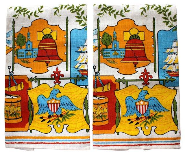 Liberty Linen Towels, Pair