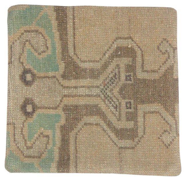 Green & Brown Rug Fragment Pillow Sham