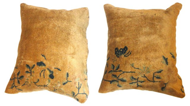 Pillows w/ Antique  Chinese Rug, Pair