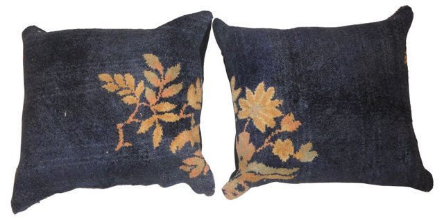 Pillows w/ Floral Pattern, Pair