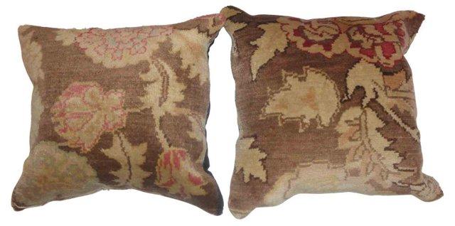 Pillows w/ Egyptian  Rug Fragment, Pair