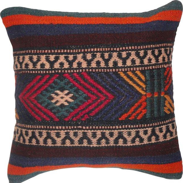 Turkish Kilim Pillow w/ Soumak Weave