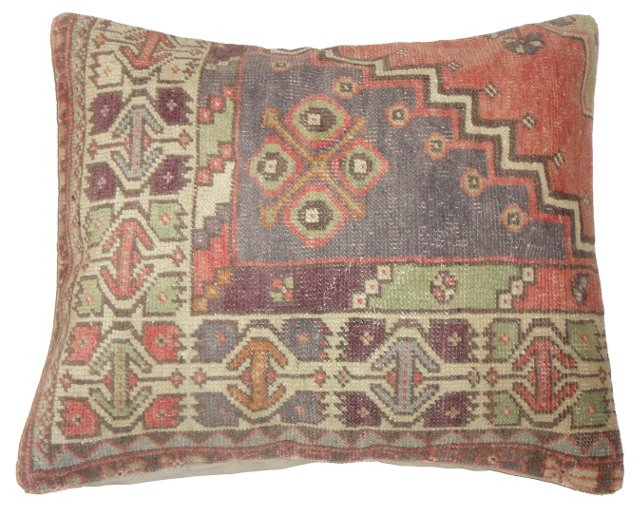 Mulitcolor Oushak  Fragment Pillow