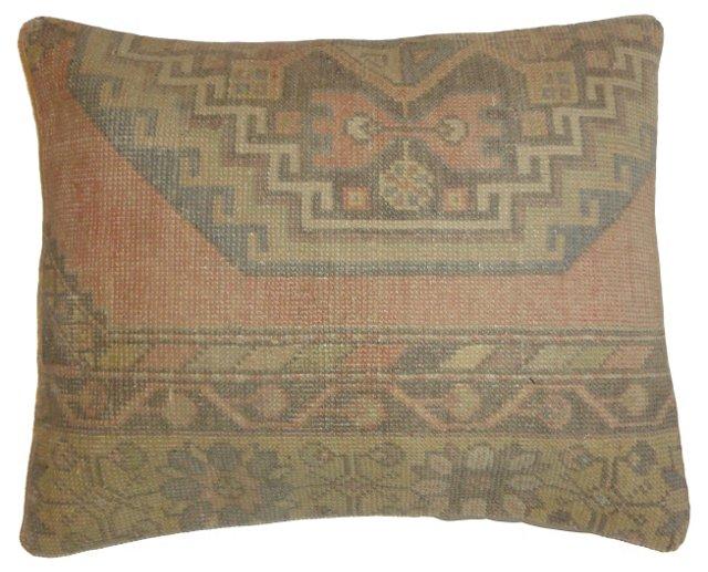 Pink Oushak Rug Fragment     Pillow