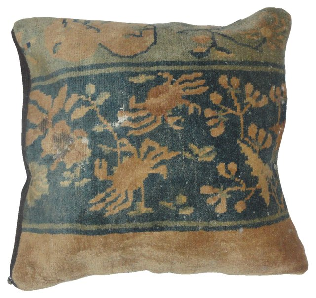 Chinese Rug Pillow, Camel & Blue