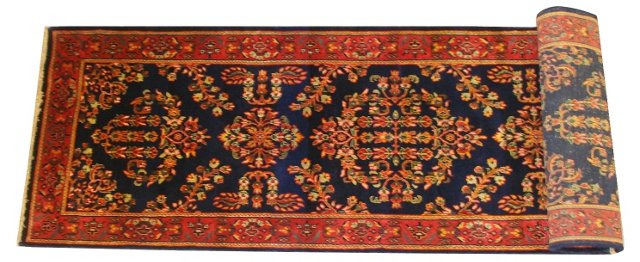 "Runner with Floral Motifs, 7'9"" x 2'6"""