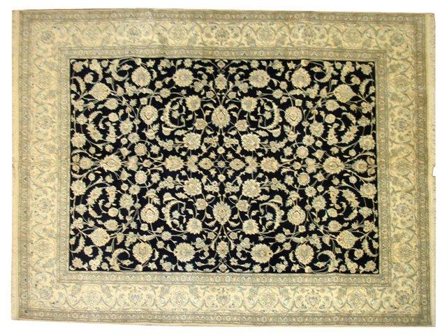 "Ivory & Navy Persian Nain, 9' x 7'2"""