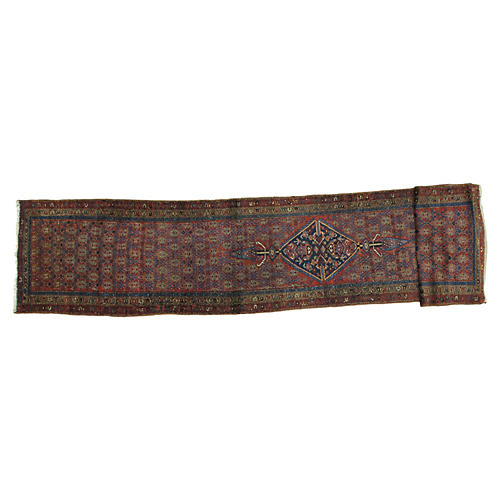 Antique Hamadan Runner, 3' x 17'6""