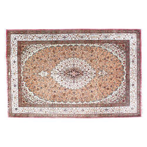 """1970s Persian Silk Qum Rug, 6'8"""" x 10'"""