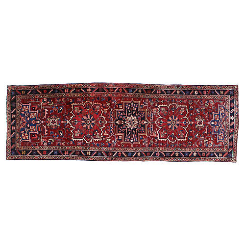 "Antique Heriz Runner, 3'8"" x 11'1"""