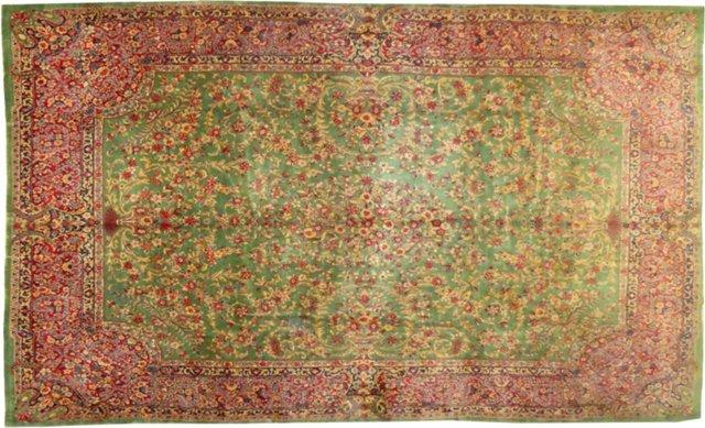 "Rose & Green Persian Kerman, 12' x 8'9"""