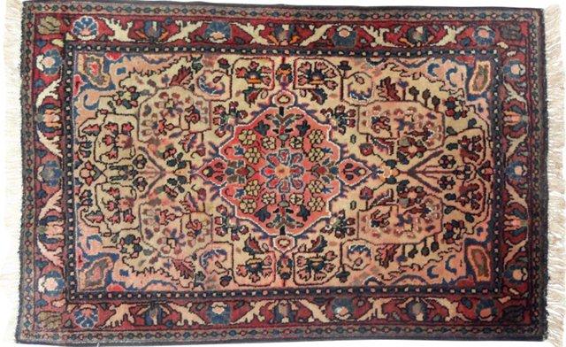 """Antique Persian Sarouk, 2'10"""" x 2'"""