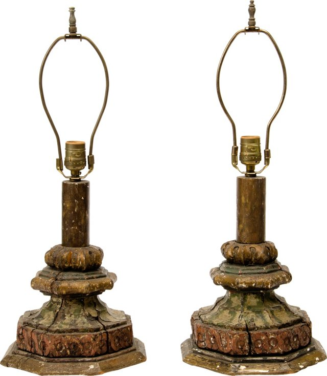 Italian Wood Lamps, Pair