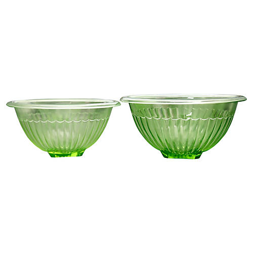 Midcentury Glass Mixing Bowls, S/2