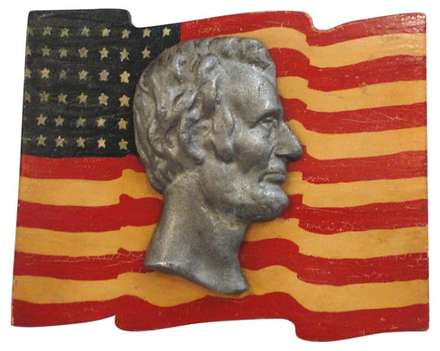 Painted Folk Art  Wood Flag w/ Lincoln