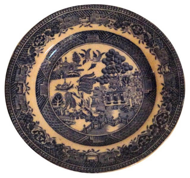 Early 19th-C. English Blue Willow Plate
