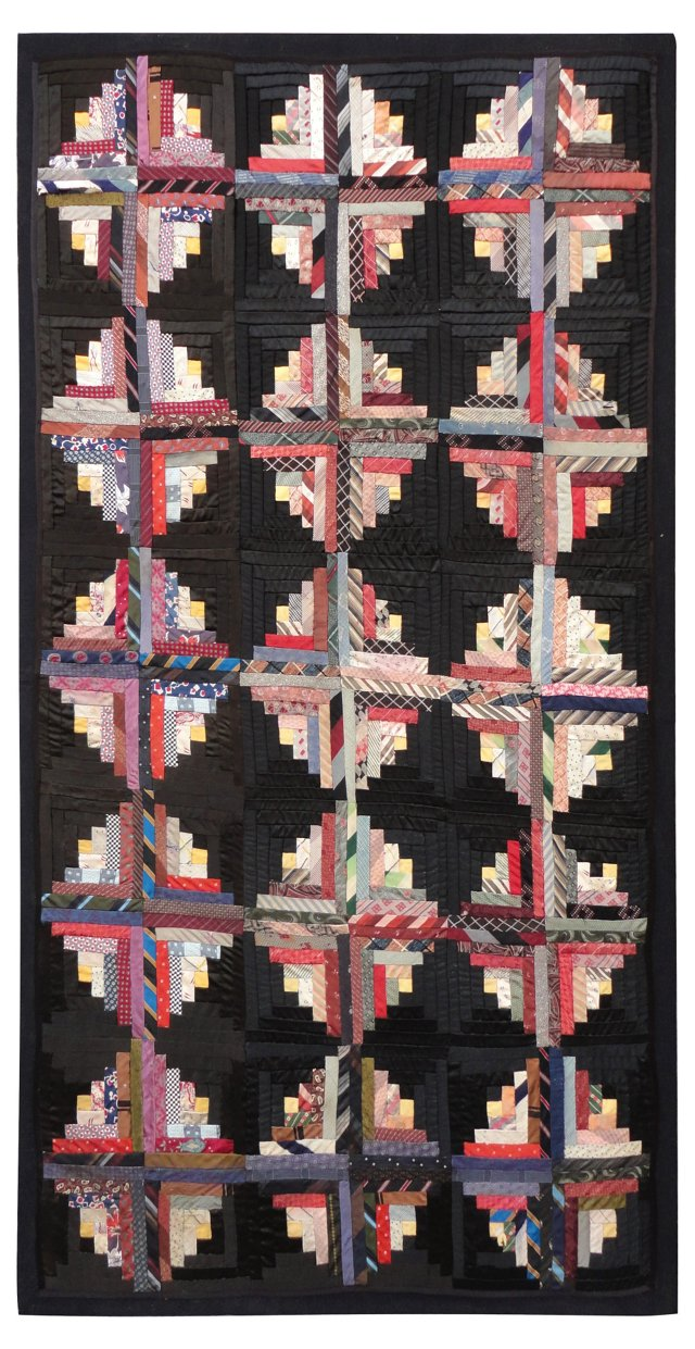 Monumental Mounted Silk Cabin Quilt