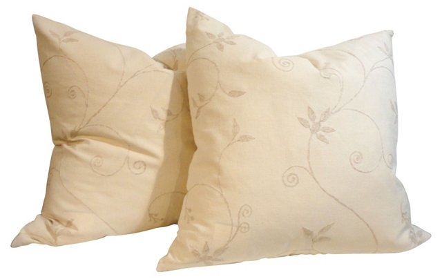 Cream Crewelwork Pillows,   Pair
