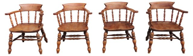 English Pub Captain's Chairs, Set of 4