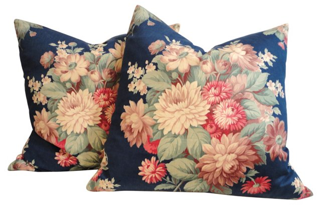 Floral Polished Cotton Pillows, Pair