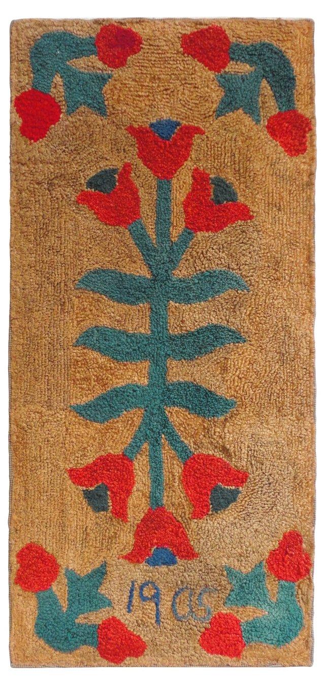 Mounted  Hooked  Christmas Rug,   1905