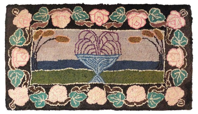 Mounted Hooked Rug w/ Floral Border
