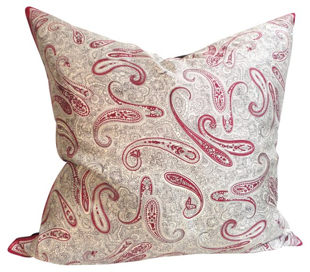Silk Paisley Pillow w/ Linen Back