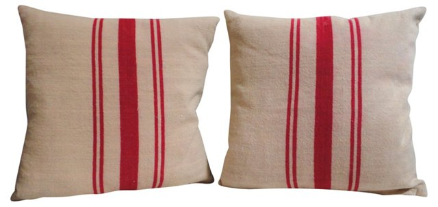 Pillows w/ 19th-C. Homespun  Linen, Pair